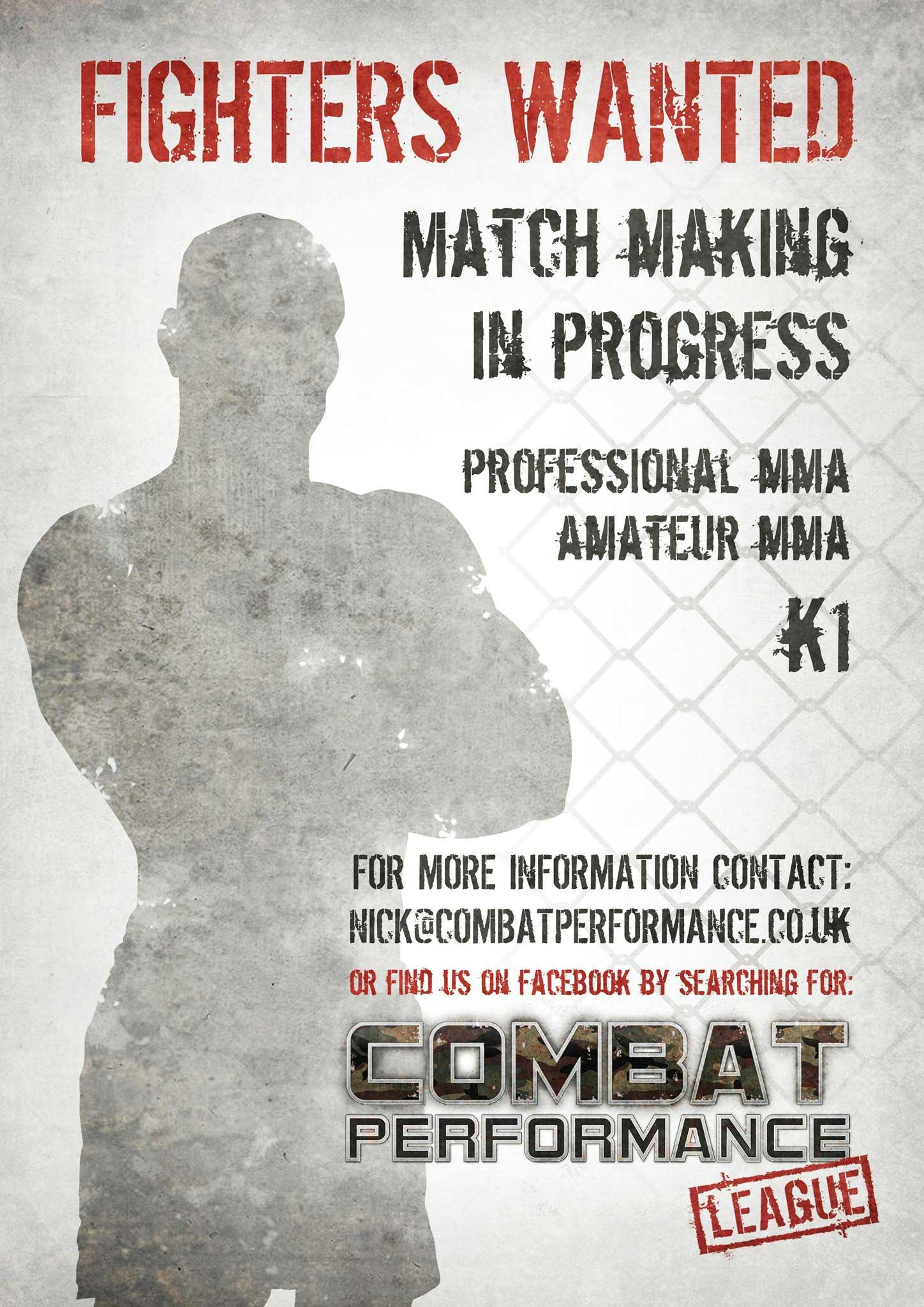 Combat Performance League Fighters Wanted Poster